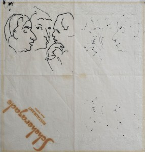 Karl Duldig, Three faces from Scheherazade, c. 1962, pen and ink on serviette, 34 x 34 cm.